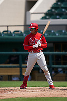 Philadelphia Phillies Arquimedes Gamboa (30) bats during a Minor League Spring Training game against the Detroit Tigers on April 17, 2021 at Joker Marchant Stadium in Lakeland, Florida.  (Mike Janes/Four Seam Images)