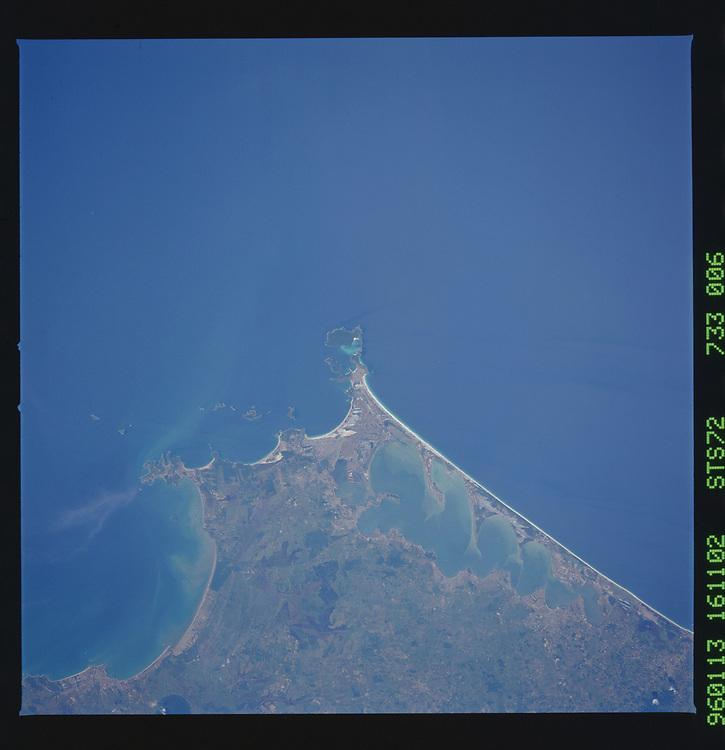 John Angerson. STS-72 Book.<br /> Public Domain Image.<br /> NASA images Courtesy National Archives - Record Group number: 255-STS-STS072<br /> Description: Earth observations taken from shuttle orbiter Endeavour during STS-72 mission.<br /> <br /> Subject Terms: STS-72, ENDEAVOUR (ORBITER), EARTH OBSERVATIONS (FROM SPACE)<br /> <br /> Date Taken: 1/13/1996<br /> <br /> Categories: Earth Observations<br /> <br /> Interior_Exterior: Exterior<br /> <br /> Ground_Orbit: On-orbit<br /> <br /> Original: Film - 70MM CT<br /> <br /> Preservation File Format: TIFF<br /> <br /> geon: BRAZIL<br /> <br /> feat: LAG. DE ARARUAMA, COAST<br /> <br /> lat: -23<br /> <br /> lon: -42<br /> <br /> tilt: Near Vertical<br /> <br /> cldp: 0<br /> <br /> nlat: -23.1<br /> <br /> nlon: -46<br /> <br /> dir: E<br /> <br /> azi: 273<br /> <br /> alt: 255<br /> <br /> elev: 76