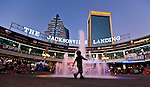 A child plays near the fountain at the Jacksonville Landing on the St Johns River in downtown Jacksonville, Florida.