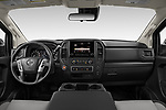 Stock photo of straight dashboard view of 2021 Nissan Titan S 4 Door Pick-up Dashboard