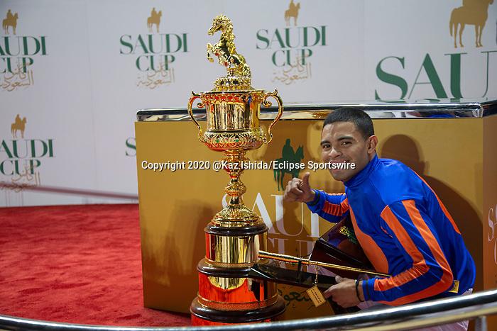 RIYADH,SAUDI ARABIA-FEB 29: Luis Saez,winning jockey, after the Saudi Cup at King Abdulaziz Racetrack on February 29,2020 in Riyadh,Saudi Arabia. Kaz Ishida/Eclipse Sportswire/CSM