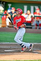 Ryan Vega (9) of the Orem Owlz at bat against the Ogden Raptors in Pioneer League action at Lindquist Field on July 29, 2016 in Ogden, Utah. Orem defeated Ogden 8-5. (Stephen Smith/Four Seam Images)