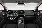 Stock photo of straight dashboard view of 2019 Hyundai Kona-EV Ultimate 5 Door SUV Dashboard