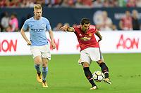 Houston, TX - Thursday July 20, 2017: Aleksandar Kolarov and Henrikh Mkhitaryan during a match between Manchester United and Manchester City in the 2017 International Champions Cup at NRG Stadium.