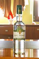 A bottle of Raki Moskat, Raki is a grappa type of grape spirit, this one from Muscat grapes. Kantina e Pijeve Gjergj Kastrioti Skenderbeu Skanderbeg winery, Durres. Albania, Balkan, Europe.