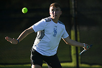 Har-Ber's Carter Swope hits, Monday, October 11, 2021 during the 6A state girls and boys tennis tournament at Memorial Park in Bentonville. Check out nwaonline.com/211012Daily/ for today's photo gallery. <br /> (NWA Democrat-Gazette/Charlie Kaijo)