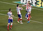 Atletico de Madrid's Gabi Fernandez, Saul Niguez, Antoine Griezmann and Mario Mandzukic celebrate goal during La Liga match.February 21,2015. (ALTERPHOTOS/Acero)