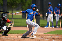 GCL Mets Blaine McIntosh (12) at bat during a Gulf Coast League game against the GCL Astros on August 10, 2019 at FITTEAM Ballpark of the Palm Beaches Training Complex in Palm Beach, Florida.  GCL Astros defeated the GCL Mets 8-6.  (Mike Janes/Four Seam Images)