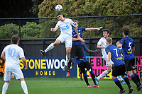 Action from the Central League football match between Miramar Rangers and Wellington Olympic AFC at David Farrington Park in Wellington, New Zealand on Saturday, 29 May 2021. Photo: Dave Lintott / lintottphoto.co.nz