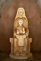 Statue of the Madonna and Child in the cloisters of the 12th century Romanesque Cistercian Abbey of Notre Dame of Senanque ( 1148 ). Provence near Gordes, France.