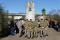 Pictured: Members of the armed forces at the Cenotaph in Swansea, Wales, UK. Sunday 10 November 2019<br /> Re: Remembrance SUnday, a service to commemorate those who lost their lives in conflict has been held at the Cenotaph in Swansea, Wales, UK.