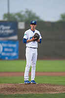 Ogden Raptors relief pitcher Connor Mitchell (16) gets ready to deliver a pitch during a Pioneer League game against the Great Falls Voyagers at Lindquist Field on August 23, 2018 in Ogden, Utah. The Ogden Raptors defeated the Great Falls Voyagers by a score of 8-7. (Zachary Lucy/Four Seam Images)