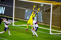 LOS ANGELES, CA - SEPTEMBER 23: Bryan Meredith #1 GK of the Vancouver White Caps let's in a Dejan Jakovic #5 of  LAFC goal during a game between Vancouver Whitecaps and Los Angeles FC at Banc of California Stadium on September 23, 2020 in Los Angeles, California.
