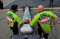 Aug. 19, 2011; Brainerd, MN, USA: NHRA crew members for top fuel dragster driver Terry McMillen during qualifying for the Lucas Oil Nationals at Brainerd International Raceway. Mandatory Credit: Mark J. Rebilas-