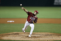 Arkansas Kevin Kopps (45) pitches, Saturday, June 5, 2021 during the eighth inning in the second game of the NCAA Fayetteville Regional at Baum-Walker Stadium in Fayetteville. Check out nwaonline.com/210606Daily/ for today's photo gallery. <br /> (NWA Democrat-Gazette/Charlie Kaijo)