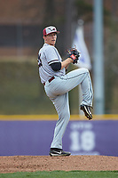 North Carolina Central Eagles starting pitcher Landon Fraley (25) in action against the High Point Panthers at Williard Stadium on February 28, 2017 in High Point, North Carolina. The Eagles defeated the Panthers 11-5. (Brian Westerholt/Four Seam Images)