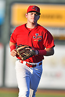 Johnson City Cardinals shortstop Mateo Gil (23) during game two of the Appalachian League, West Division Playoffs against the Bristol Pirates at TVA Credit Union Ballpark on August 31, 2019 in Johnson City, Tennessee. The Cardinals defeated the Pirates 7-4 to even the series at 1-1. (Tony Farlow/Four Seam Images)
