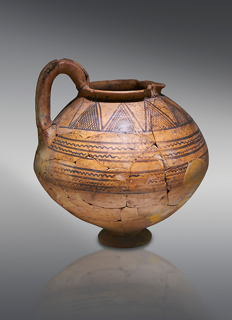 Phrygian terra cotta jug with geometric designs from Gordion. Phrygian Collection, 8th century BC - Museum of Anatolian Civilisations Ankara. Turkey.
