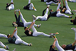 1993:  View of the Oakland Athletics stretching during training in the 1994 season.  (Photo by Rich Pilling)