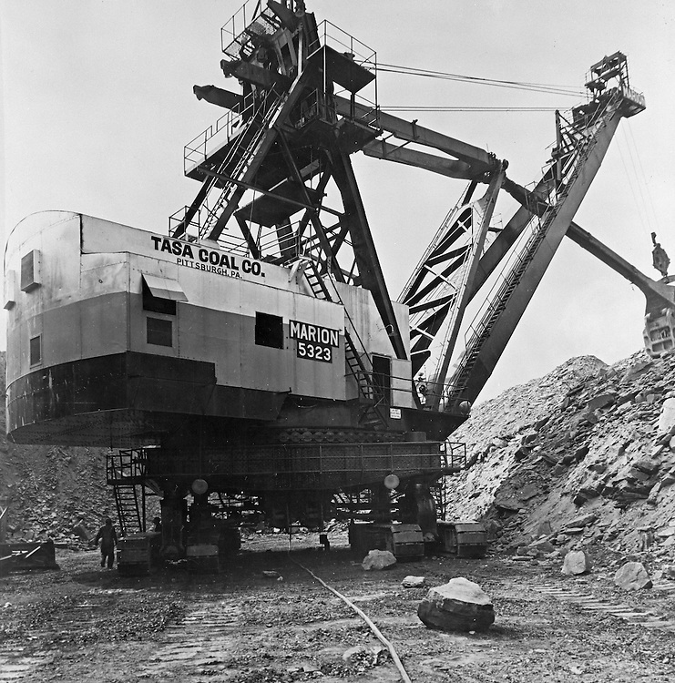 Client:  Tasa Coal Company<br /> Ad Agency: None / Tasa<br /> Product:  Marion Power Shovel<br /> Location: Mine #8 near Zelienople PA<br /> <br /> The Tasa Coal Co. operated its Mine No. 8 in this area. It was a strip mine operation due to the thinness of the area coal seams.