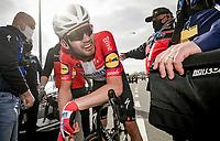post-finish emotions: Kasper Asgreen (DEN/Deceuninck - Quick Step) just won the 105th Ronde van Vlaanderen 2021 (MEN1.UWT)<br /> <br /> 1 day race from Antwerp to Oudenaarde (BEL/264km) <br /> <br /> ©kramon