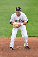 Lake County Captains second baseman Paul Hendrix (8) during a game against the Dayton Dragons on June 8, 2014 at Classic Park in Eastlake, Ohio.  Lake County defeated Dayton 4-2.  (Mike Janes/Four Seam Images)