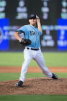 Durham Bulls relief pitcher Justin Marks (40) in action against the Buffalo Bisons at Durham Bulls Athletic Park on April 30, 2017 in Durham, North Carolina.  The Bisons defeated the Bulls 6-1.  (Brian Westerholt/Four Seam Images)