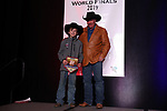 Jaspur Farris during the bareback and saddle bronc back  number  presentation at the Junior World Finals Rodeo. Photo by Andy Watson. Written permission must be  provided  to use  this  photo  in any manner.