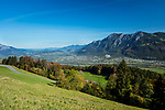 View from Seveler Berg into the Rhine-valley and the Principality of Liechtenstein. Sevelen, St. Gallen, SG, Schweiz, Switzerland.<br /> <br /> Foto: Paul J. Trummer