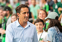 AUSTIN, TX - JUNE 19: Austin FC Head Coach, Josh Wolff mingles with the fans after a game between San Jose Earthquakes and Austin FC at Q2 Stadium on June 19, 2021 in Austin, Texas.