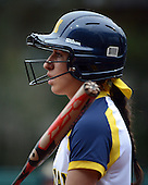 Michigan Wolverines infielder Abby Ramirez (1) at bat during the season opener against the Florida Gators on February 8, 2014 at the USF Softball Stadium in Tampa, Florida.  Florida defeated Michigan 9-4 in extra innings.  (Copyright Mike Janes Photography)