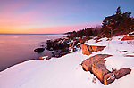 View of rugged granite coastline along Ocean Drive on Mount Desert Island, Acadia National Park, Maine, USA