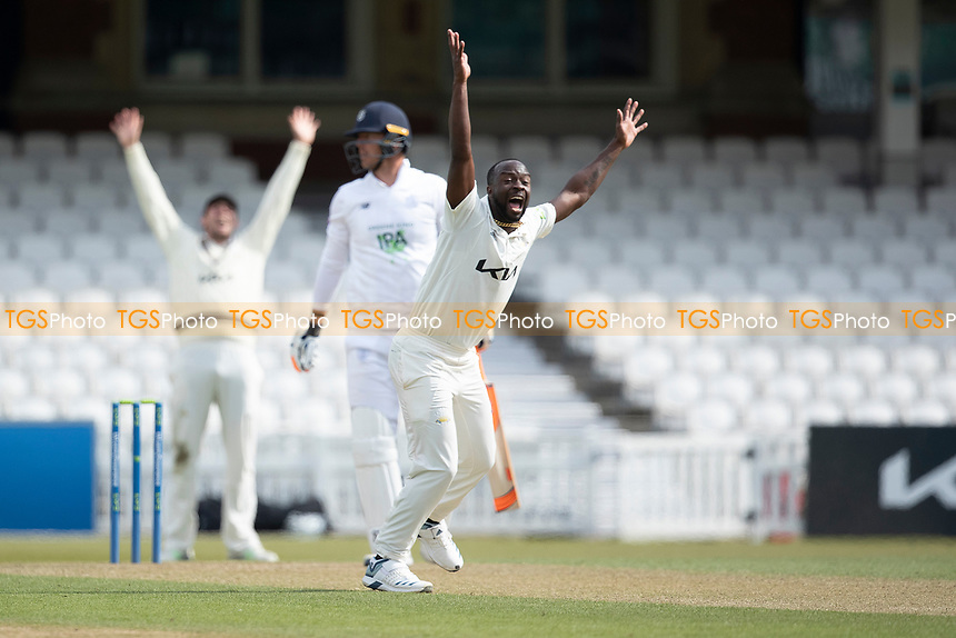 Kemar Roach of Surrey CCC appeals for the wicket of Kyle Abbott, Hampshire CCC during Surrey CCC vs Hampshire CCC, LV Insurance County Championship Group 2 Cricket at the Kia Oval on 1st May 2021
