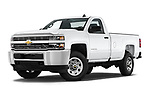 Stock pictures of low aggressive front three quarter view of a 2018 Chevrolet Silverado 2500HD Work Truck Regular Cab  2 Door Pick Up