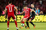 Bayern Munich Forward Robert Lewandowski (C) fights for the ball with during the 2017 International Champions Cup China  match between FC Bayern and AC Milan at Universiade Sports Centre Stadium on July 22, 2017 in Shenzhen, China. Photo by Marcio Rodrigo Machado / Power Sport Images