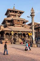 Bhaktapur, Nepal.  Dattatreya Temple, 15th. Century.  Garuda on Column.  The temple suffered only minor damage in the April 2015 earthquake.