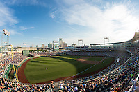 A general view during a College World Series Finals game between the Coastal Carolina Chanticleers and Arizona Wildcats at TD Ameritrade Park on June 27, 2016 in Omaha, Nebraska. (Brace Hemmelgarn/Four Seam Images)