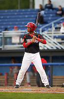 Batavia Muckdogs first baseman Erwin Almonte (25) at bat during a game against the Williamsport Crosscutters on August 27, 2015 at Dwyer Stadium in Batavia, New York.  Batavia defeated Williamsport 3-2.  (Mike Janes/Four Seam Images)