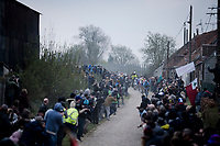 breakaway group welcomed over the  first cobble section<br /> <br /> 117th Paris-Roubaix 2019 (1.UWT)<br /> One day race from Compiègne to Roubaix (FRA/257km)<br /> <br /> ©kramon