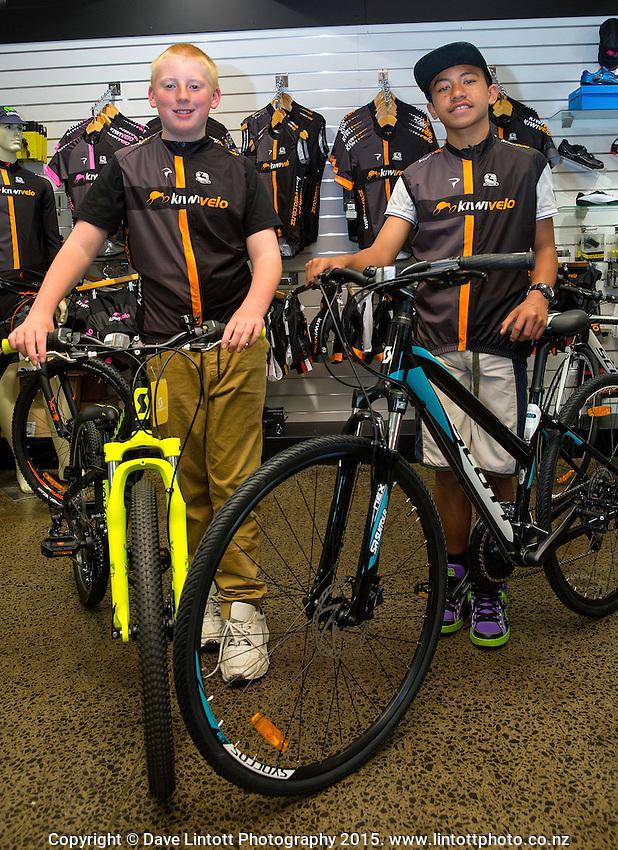 Joshua Johnson, age 13, left, Harlem Tamatea, age 12, Kiwivelo bike presentation at Kiwivelo Cycling, Takapuna, New Zealand on Saturday, 7 November 2015. Photo: David Rowland / lintottphoto.co.nz