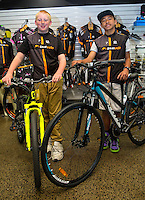 Joshua Johnson, age 13, left, Harlem Tamatea, age 12, Kiwivelo bike presentation at Kiwivelo Cycling, Takapuna, New Zealand on Saturday, 7 November 2015. Photo: David Rowland / lintottphoto.co.nz