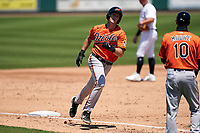 Baltimore Orioles Josh Stowers (61) rounds the bases after hitting a home run during a Minor League Spring Training game against the Detroit Tigers on April 14, 2021 at Joker Marchant Stadium in Lakeland, Florida.  (Mike Janes/Four Seam Images)