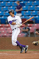 Salvador Sanchez #40 of the Winston-Salem Dash follows through on his swing versus the Potomac Nationals at Wake Forest Baseball Stadium May 8, 2009 in Winston-Salem, North Carolina. (Photo by Brian Westerholt / Four Seam Images)