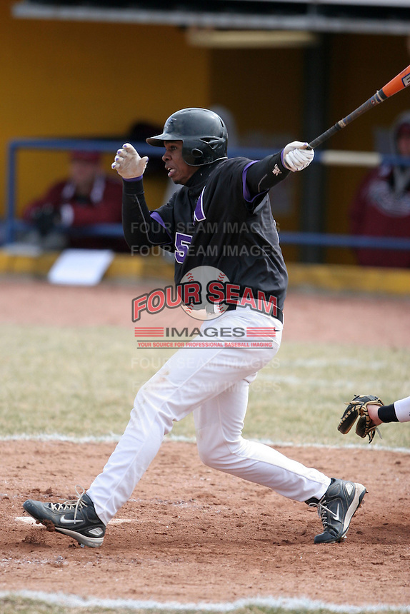 March 22nd 2009:  Right Fielder Wynton Bernard (15) of the Niagara University Purple Eagles during a game at Sal Maglie Stadium in Niagara Falls, NY.  Photo by:  Mike Janes/Four Seam Images
