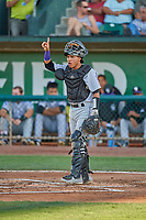 Ronaiker Palma (47) catcher of the Grand Junction Rockies during the game against the Ogden Raptors at Lindquist Field on August 28, 2019 in Ogden, Utah. The Rockies defeated the Raptors 8-5. (Stephen Smith/Four Seam Images)