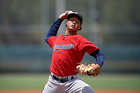 GCL Twins pitcher Miguel Rodriguez (46) during a Gulf Coast League game against the GCL Pirates on August 6, 2019 at Pirate City in Bradenton, Florida.  GCL Twins defeated the GCL Pirates 1-0 in the second game of a doubleheader.  (Mike Janes/Four Seam Images)