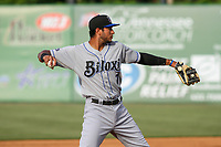 Biloxi Shuckers third baseman Jake Gatewood (7) makes a throw to first base between innings during a Southern League game against the Jackson Generals on June 14, 2019 at The Ballpark at Jackson in Jackson, Tennessee. Jackson defeated Biloxi 4-3. (Brad Krause/Four Seam Images)
