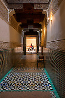 Marrakesh, Morocco.  Looking to the Street from inside the Medersa Ben Youssef, 16th. Century.