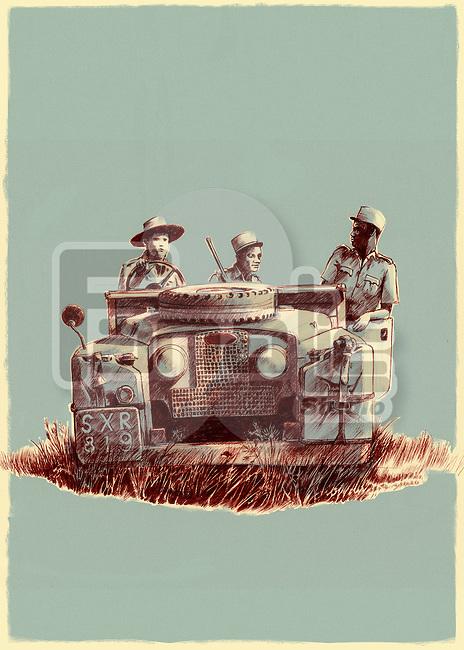 Illustrative image of hunters on SUV