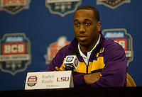 LSU wide receiver Rueben Randle talks with the reporters during BCS Championship LSU Offensive Press Conference at Marriott Hotel at the Convention Center in New Orleans, Louisiana on January 7th, 2012.